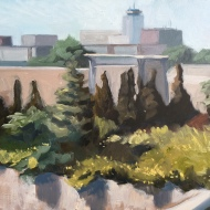 "Sunny Embankment : Oil on board. 9″x 12"" 2017"